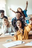 group of happy multiethnic students taking selfie royalty free stock image
