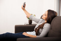 Taking a selfie at home Stock Photo