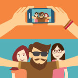 Taking a selfie photo flat design Stock Photos