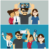 Taking a selfie photo flat design Stock Images