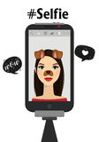 Taking selfie photo on mobile phone. Vector illustration. Hand hold monopod with smartphone and take photography. Beauty woman wit Stock Photo