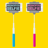 Taking Selfie Photo on Phone with monopod concept Royalty Free Stock Images