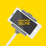 Taking Selfie Photo on Phone with monopod concept Stock Photography