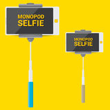 Taking Selfie Photo on Phone with monopod concept Stock Photos