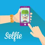 Taking Selfie Photo on Phone . vector illustration Stock Photography