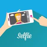 Taking Selfie Photo on Phone . vector illustration Stock Photos