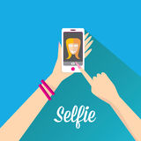 Taking Selfie Photo on Phone . vector illustration Royalty Free Stock Image