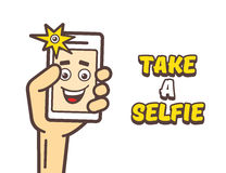 Taking selfie photo on smart phone Royalty Free Stock Photography