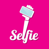 Taking Selfie Photo on Smart Phone concept icon Royalty Free Stock Images