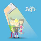Taking Selfie Photo on Smart Phone concept Stock Photo