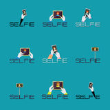 Taking Selfie Photo on Smart Phone or Tablet concept logo or ico Stock Photos