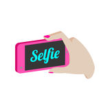 Taking selfie photo on smartphone symbol. Stock Photography