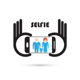 Taking selfie portrait photo on smart phone concept icon. Selfie Stock Image
