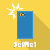 Taking selfie on smartphone. Vector. Royalty Free Stock Photo