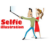 Taking selfie on smartphone Stock Photos