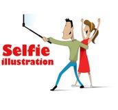 Taking selfie on smartphone Stock Photos