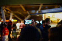 Taking selfie at Street Food Fest 2017, Bucharest, Romania Royalty Free Stock Photography