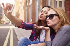 Taking a selfie. During the sunny day Royalty Free Stock Images