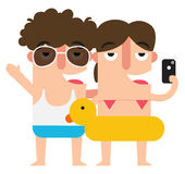 Taking selfie woman and man,summer vacation fun Stock Photo