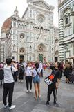 Taking selfies in front of Cathedral Florence Stock Image