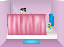 Taking a shower Royalty Free Stock Images