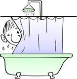 Taking shower man Stock Images