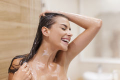 Taking shower Royalty Free Stock Photography