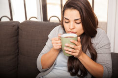 Taking a sip of coffee Stock Photos