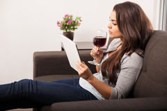 Taking a sip of wine Stock Image