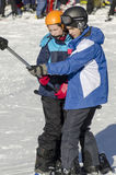 Taking the ski lift stock photography