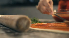 Taking slice of pizza,melted cheese dripping. Slow Motion stock footage