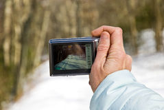 Taking a Snow Picture Stock Photography
