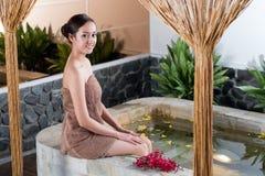 Taking spa bath Stock Photos