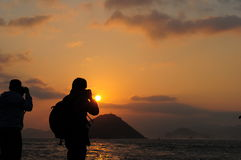 Taking sunet picture Stock Images