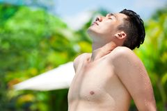 Taking a tan Stock Photo