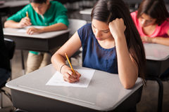 Taking a test in high school. Group of high school students taking a test in a classroom royalty free stock images