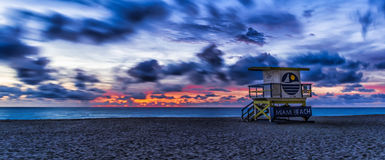 Taking in the View. Great way to start the day, from Miami Beach, Fl.  The weather and clouds were perfect for this capture Stock Image
