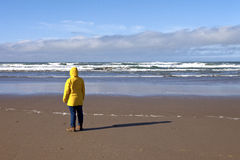 Taking a walk on the Oregon coast. Stock Photo