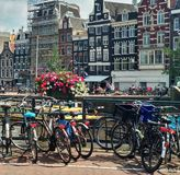 Taking a walk by the streets of Amsterdam. royalty free stock photo