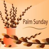 Takjes van wilg in vaze Palmzondag Stock Afbeeldingen