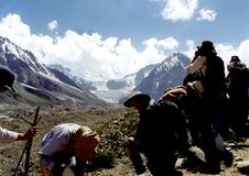 Takjing a break in the Himalayers Royalty Free Stock Image
