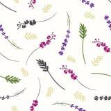 Takken en bloemen naadloze achtergrond royalty-vrije stock afbeeldingen