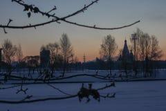 Takken met vorst op de achtergrond van de stadsdageraad Heldere de winterochtend de heldere scharlaken zonstijgingen op de horizo stock foto