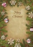 Takken van een Kerstboom met bont-boom speelgoed Royalty-vrije Stock Fotografie