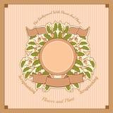 Takken van eik met bladeren en eikels in het centrum onder de ronde banner en de linten Royalty-vrije Stock Foto