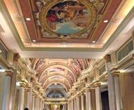Takkonst på det Venetian hotellet i Vegas Arkivfoton