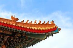 Taklägga av det kinesiska tempelet Arkivfoton