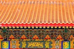 Taklägga av det kinesiska tempelet Arkivbilder