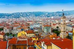 Taklägger panorama av Nice, Frankrike Royaltyfri Fotografi