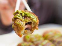 Takoyaki с японским соусом зеленого чая Стоковое Изображение RF